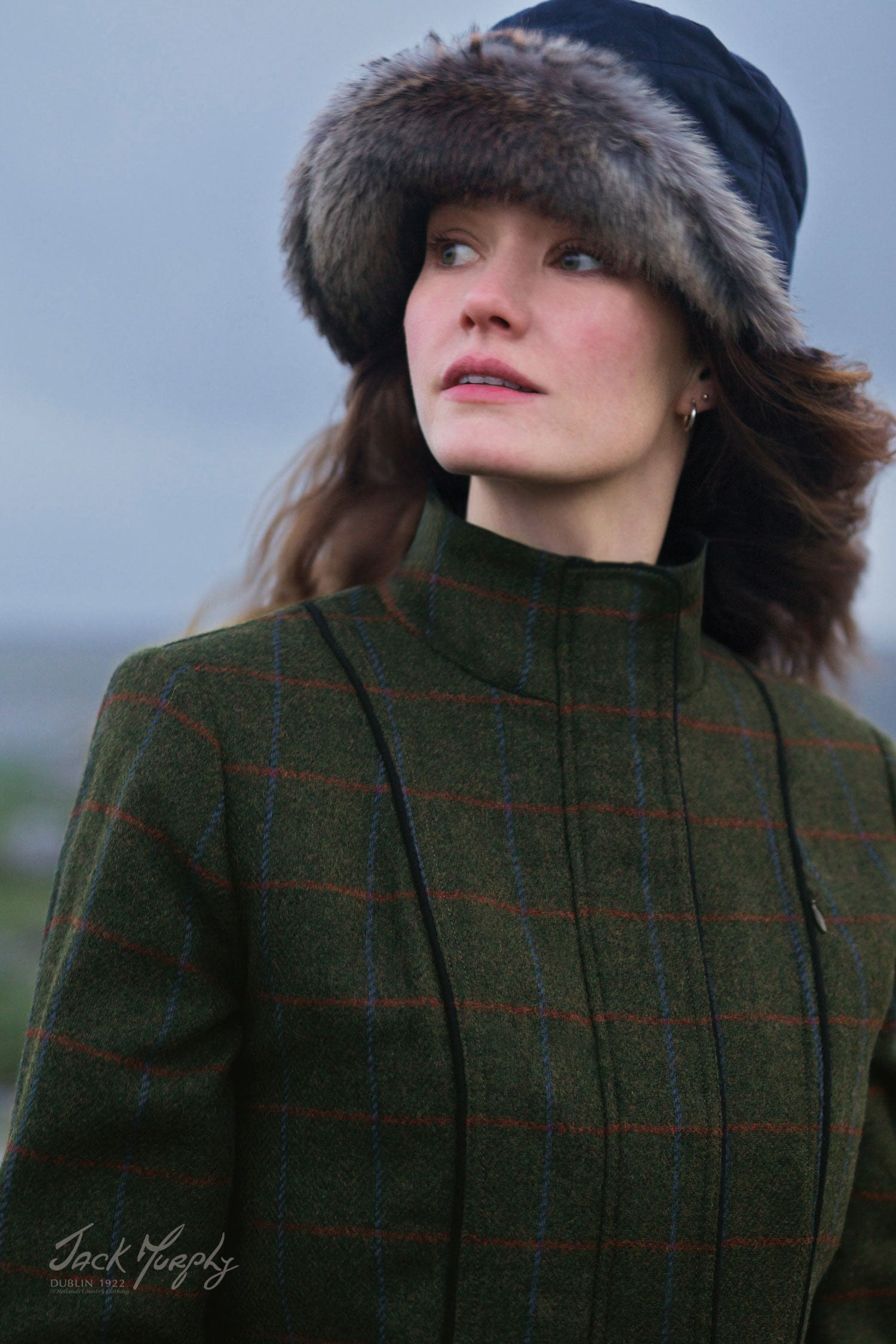 lady wearing Jack Murphy Prue Tweed Jacket | Check Green pure wool tweed