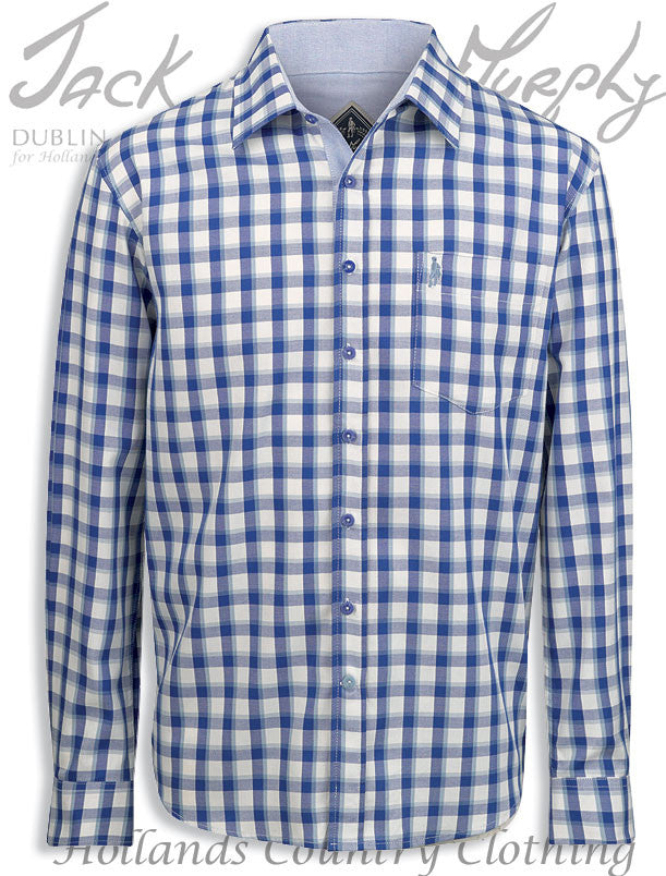 Jack Murphy Lorcan 100% Cotton Long Sleeve Shirt shades of blue