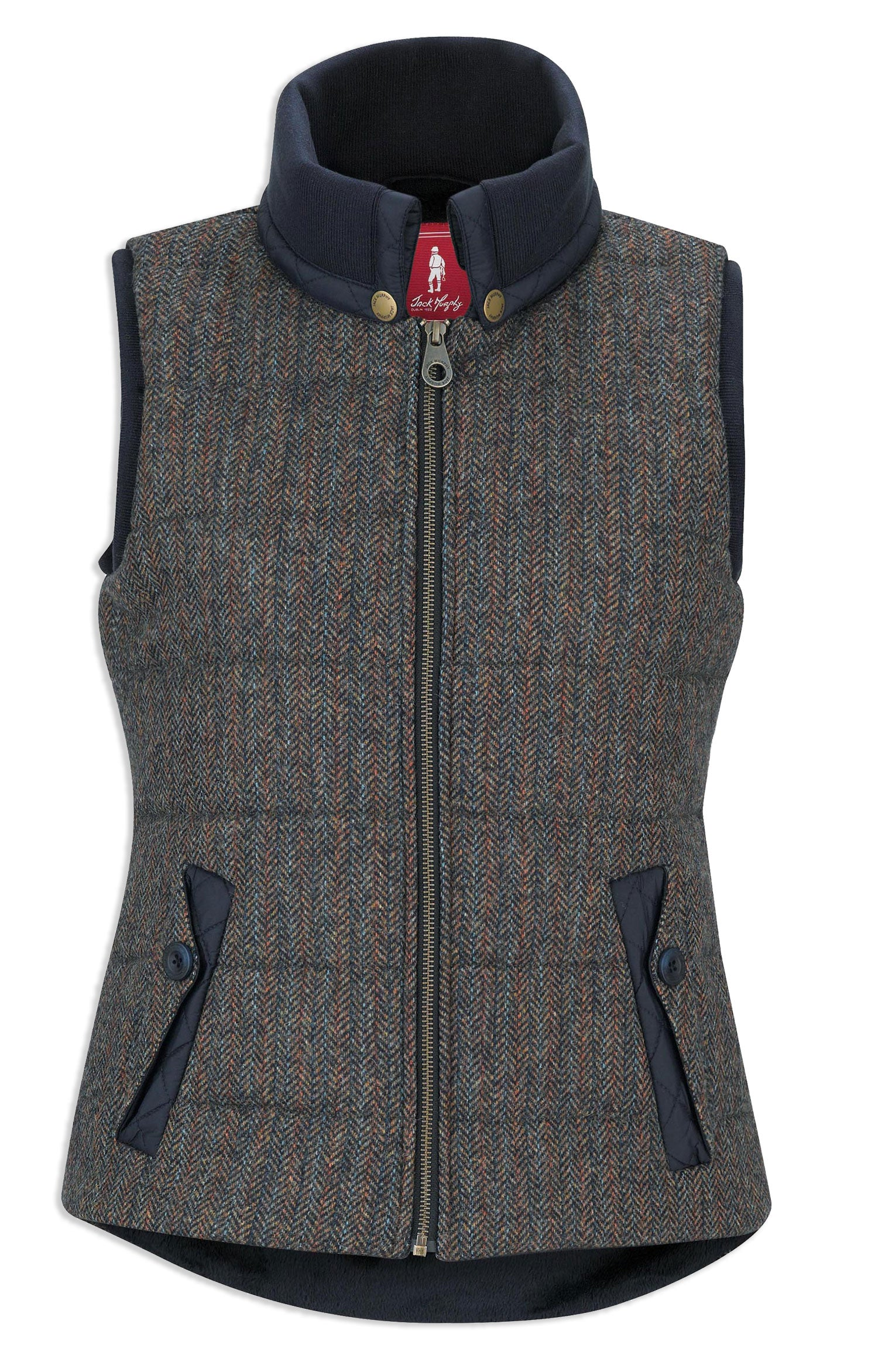 outdoor teal herringbone tweed Jack Murphy Malory Ladies Tweed Waistcoat