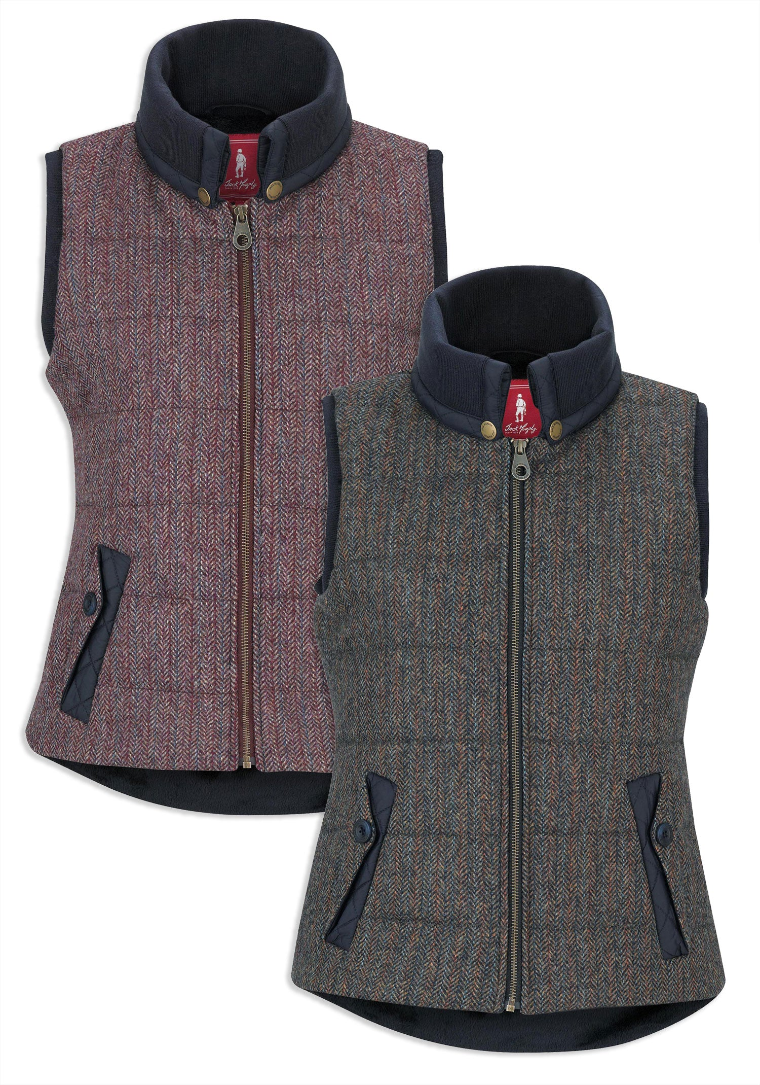 Jack Murphy Malory Ladies Tweed Waistcoat Gilet in plum berry and outdoor teal