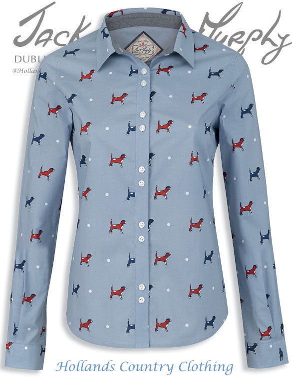 Jack Murphy May Summertime Beagle Dog Print Shirt in blue