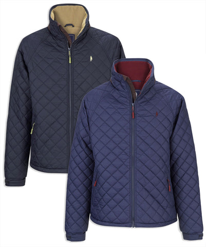 Jack Murphy Calvin Diamond Quilted Jacket in navy and indigo