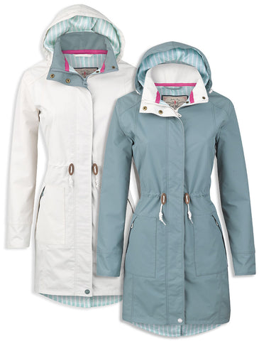 Derry Ladies Summer Waterproof  Coat in white and blue colours