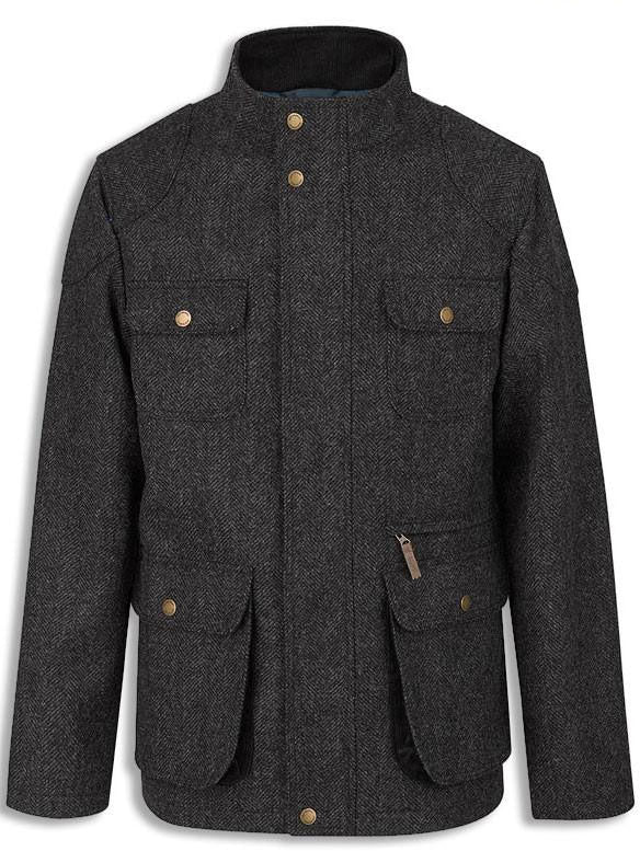 Jack Murphy Drew jacket in Herringbone Black wool tweed