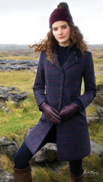 out in   field in jack murphy ladies three quarter tweed coat navy with red check overlay