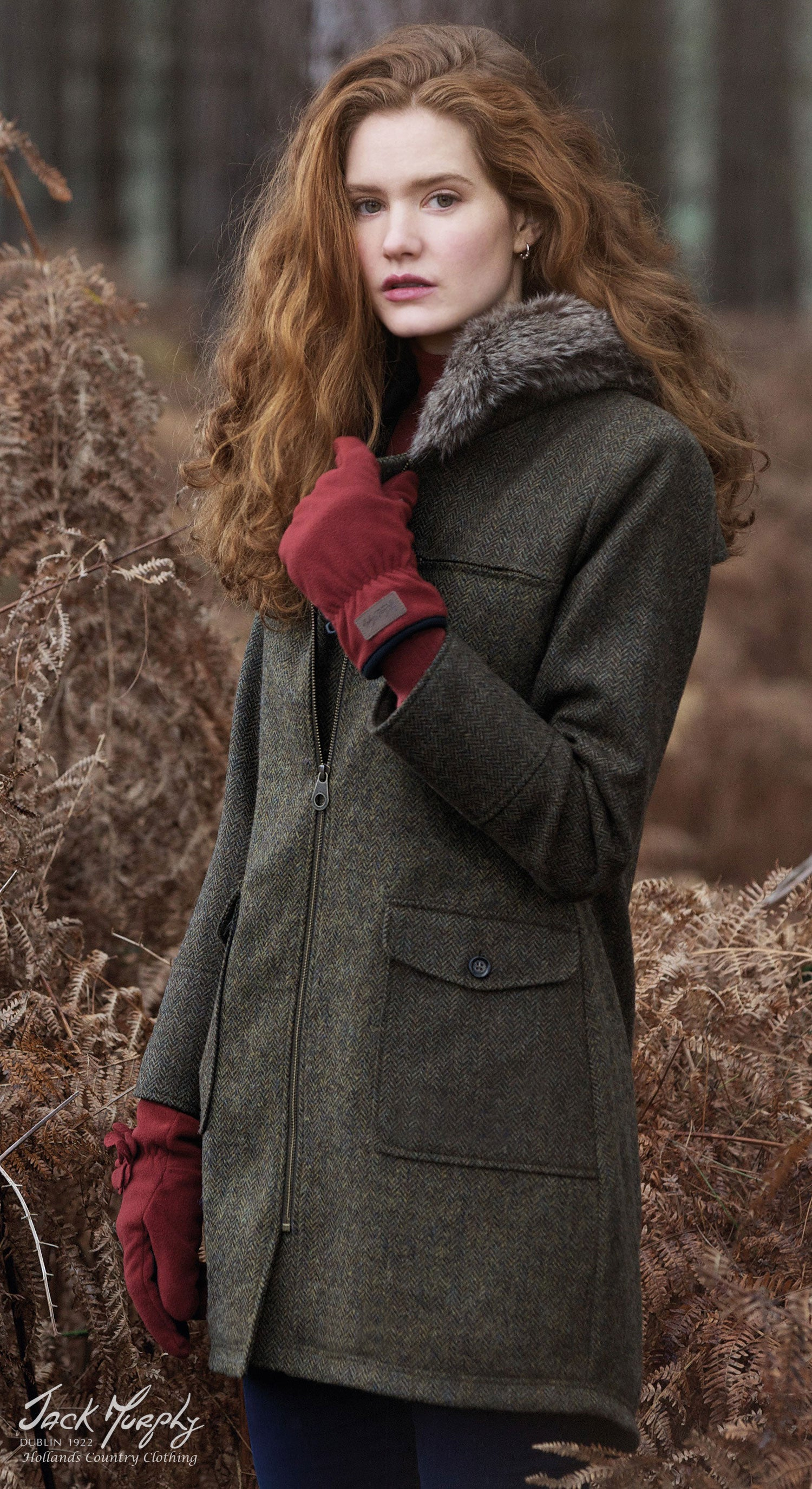 jen lady parka out in the wood looking for tweed