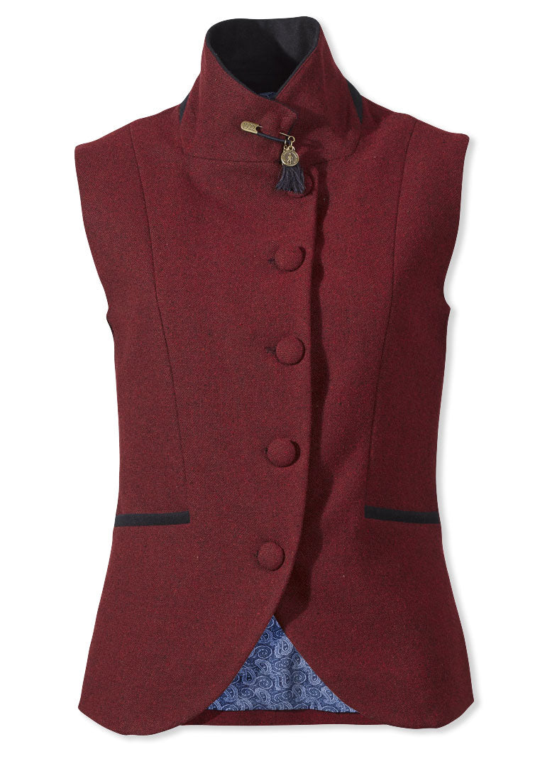 Jack Murphy Leona Tweed Waistcoat vintage red with collar up