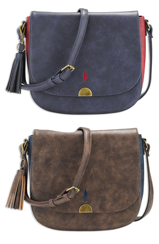 Jack Murphy Walker Shoulder Bag in brown and navy faux leather