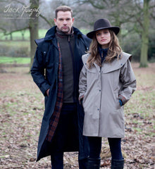 Man's Jack Murphy Lambourne II Waterproof Long Coat in a Drover Style shown with ladies cotswold coat