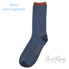 navy herringbone JM Autumn Winter Men's Sock