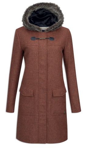 Jack Murphy Meredith Tweed Duffle Coat - Burnt Orange Herringbone