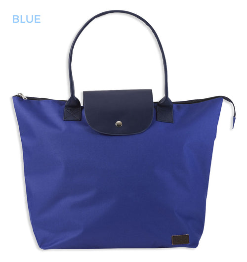 blue and navy shopping bag with handles