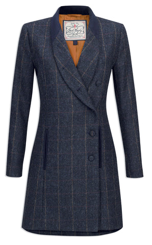 Jack Murphy Robin Tweed Mid Length Coat - Golden Navy