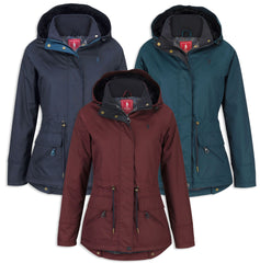 Jack Murphy Danielle Dog Walking Coat in Heritage Navy, Winter Burgundy and Teal