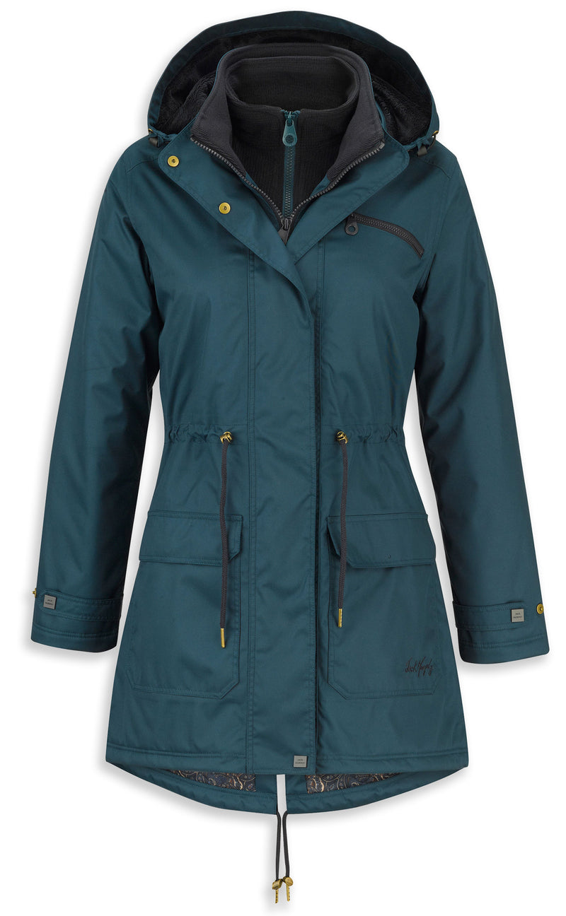 teal colour Jack Murphy Vanessa waterproof warm lined Dog Walking Coat with hood