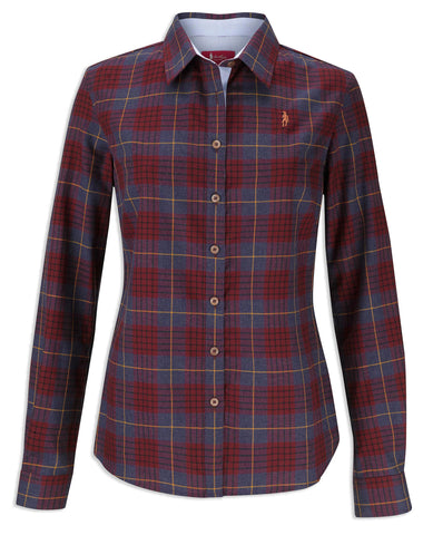 Jack Murphy Tia Winter Check Shirt burgundy palid