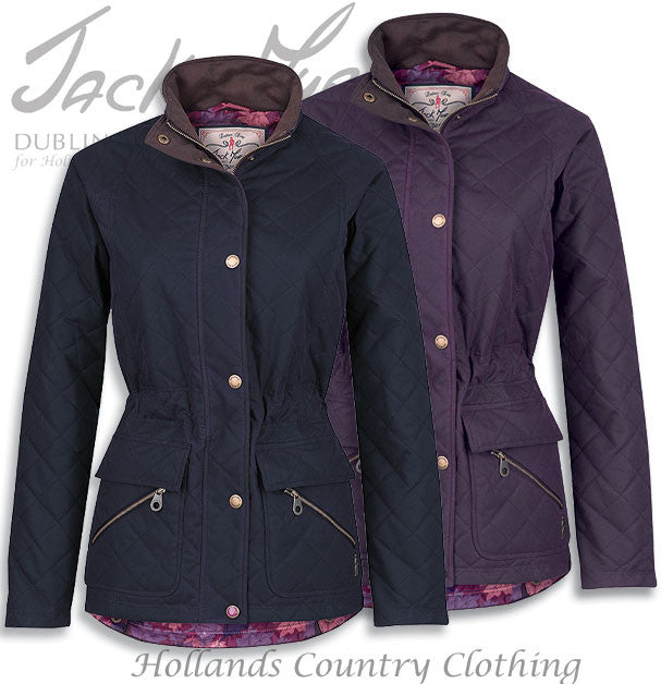 Jack Murphy Omogen Ladies Wax Jacket in Berry and navy