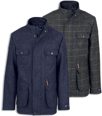 A military styled tweed coat featuring a four pocket front arrangement by jack murphy