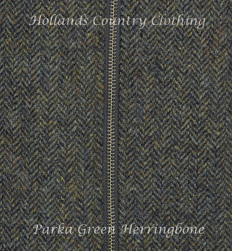 parka green herring bone tweed