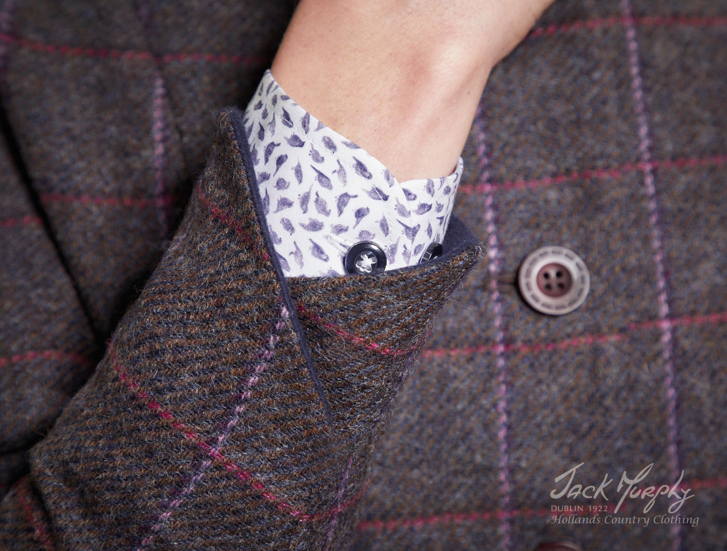 beautiful Deep Burren tweed with overcheck pattern