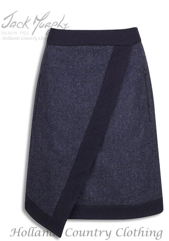 Jack Murphy Justine Navy Herringbone Tweed Skirt