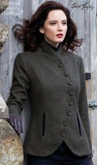 showing asymmetrical buttoned front on Jack Murphy Karen Jacket in Knockmore Tweed