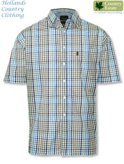 Champion Kelso farming style Short Sleeved Shirt in blue checks