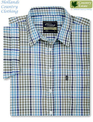 men's Champion Kelso Short Sleeved Shirt in blue checks