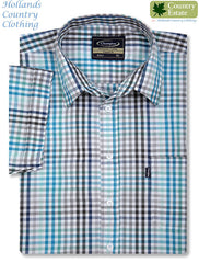 image of Champion Kelso Short Sleeved Shirt in blue checks