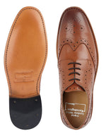 Kensington All Leather Wing Cap Gibson Brogue Shoe Tan