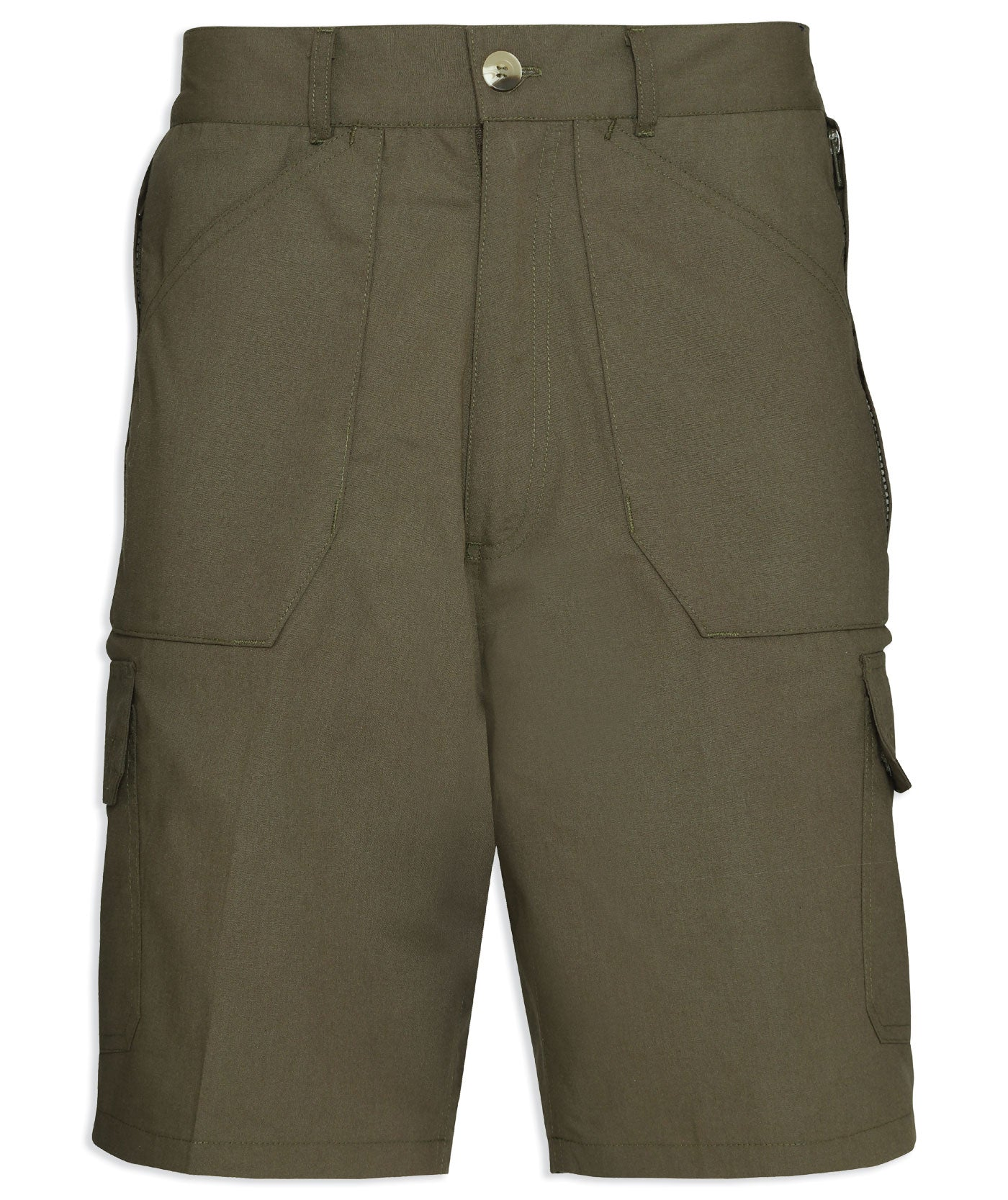 champion action short in olive green with lots of pockets