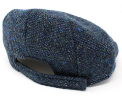 adjustable size band Hanna Children's Tweed Flat Cap | Navy Salt and Pepper