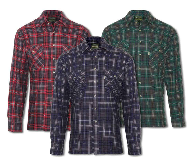 Tartan Lumberjack Shirt Kilbeggan by Champion in three traditional Tartans Colours, Red Plaid, Blue Plaid and Green Plaid.