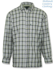 Green tartan country Tartan plaid check shirt with a micro fleece lining that's ideal for winter weather