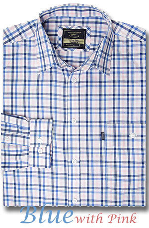 blue and pink check shirt