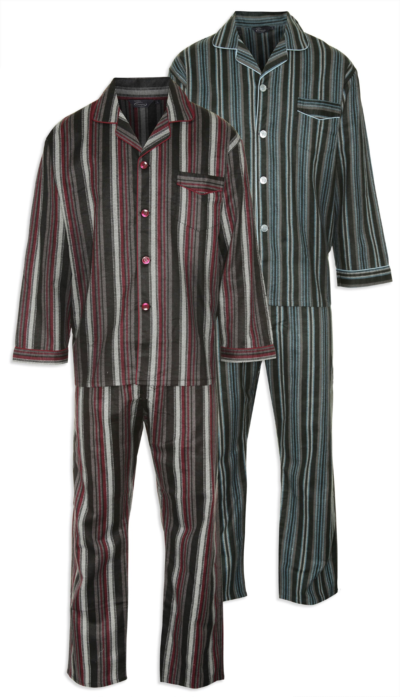 Champion Kingston Striped Pyjamas 100% Cotton pair of in blue and burgundy
