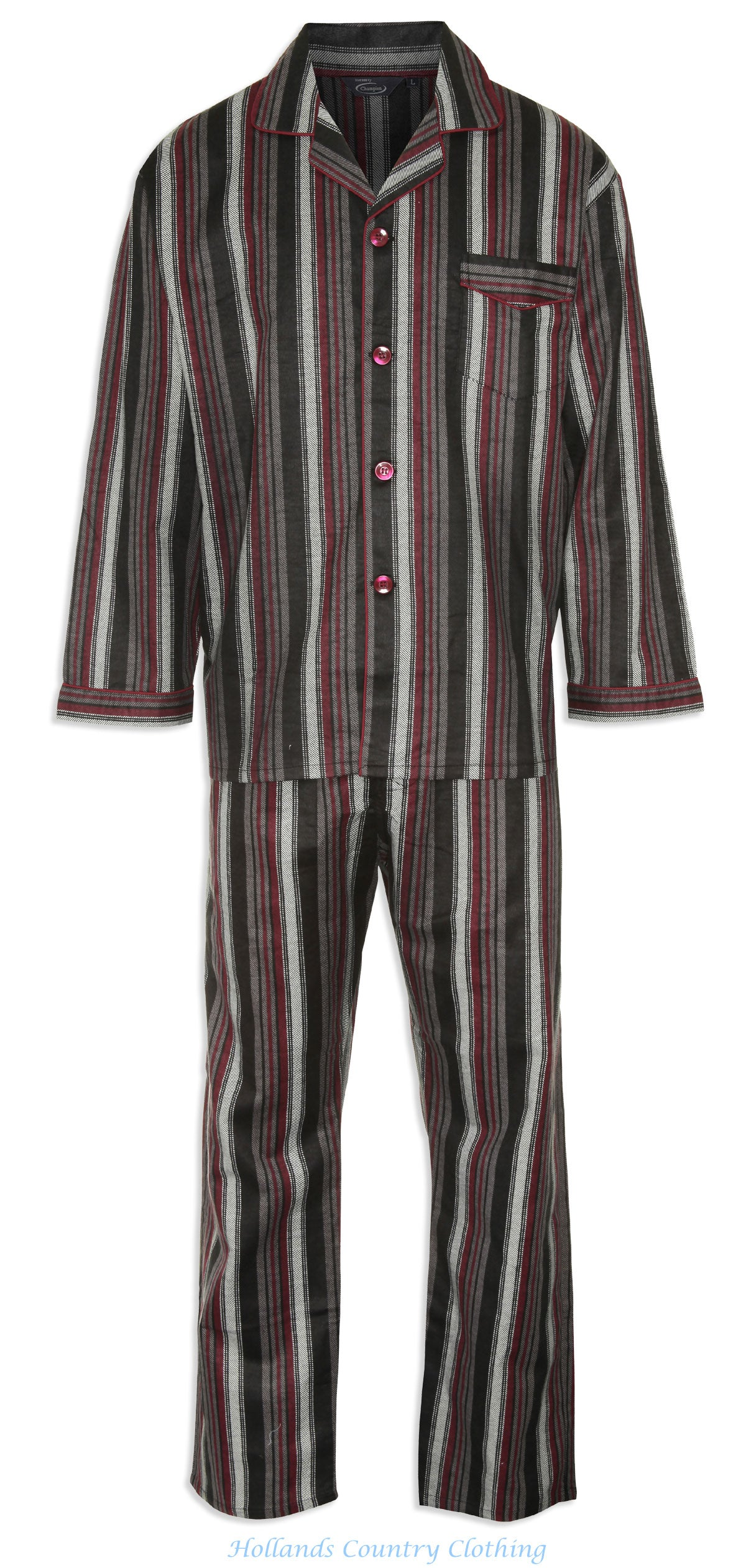 Champion Kingston Striped Pyjamas 100% Cotton pair of in blue and burgundy front oen