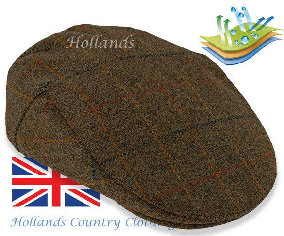 Shetland Wool Kinloch Waterproof Tweed Flat Cap  in Brown with Check Pattern  by Heather Hats