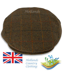 Heather Kinloch Waterproof Tweed Flat Cap Brown Check