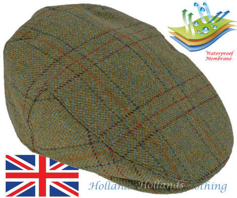 Heather Kinloch Waterproof Tweed Cap  in Light Olive British wool tweed