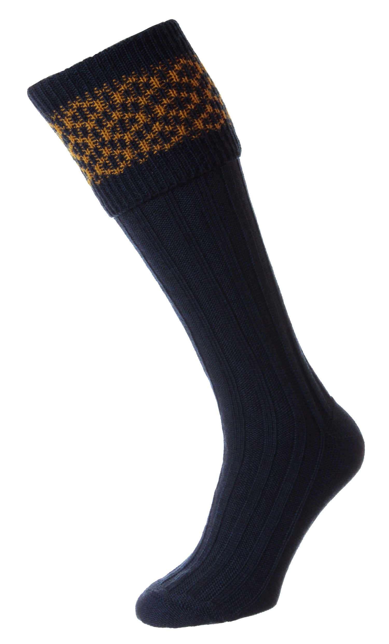 Navy HJ Hall Cushion Foot Shooting Sock | Patterned Top