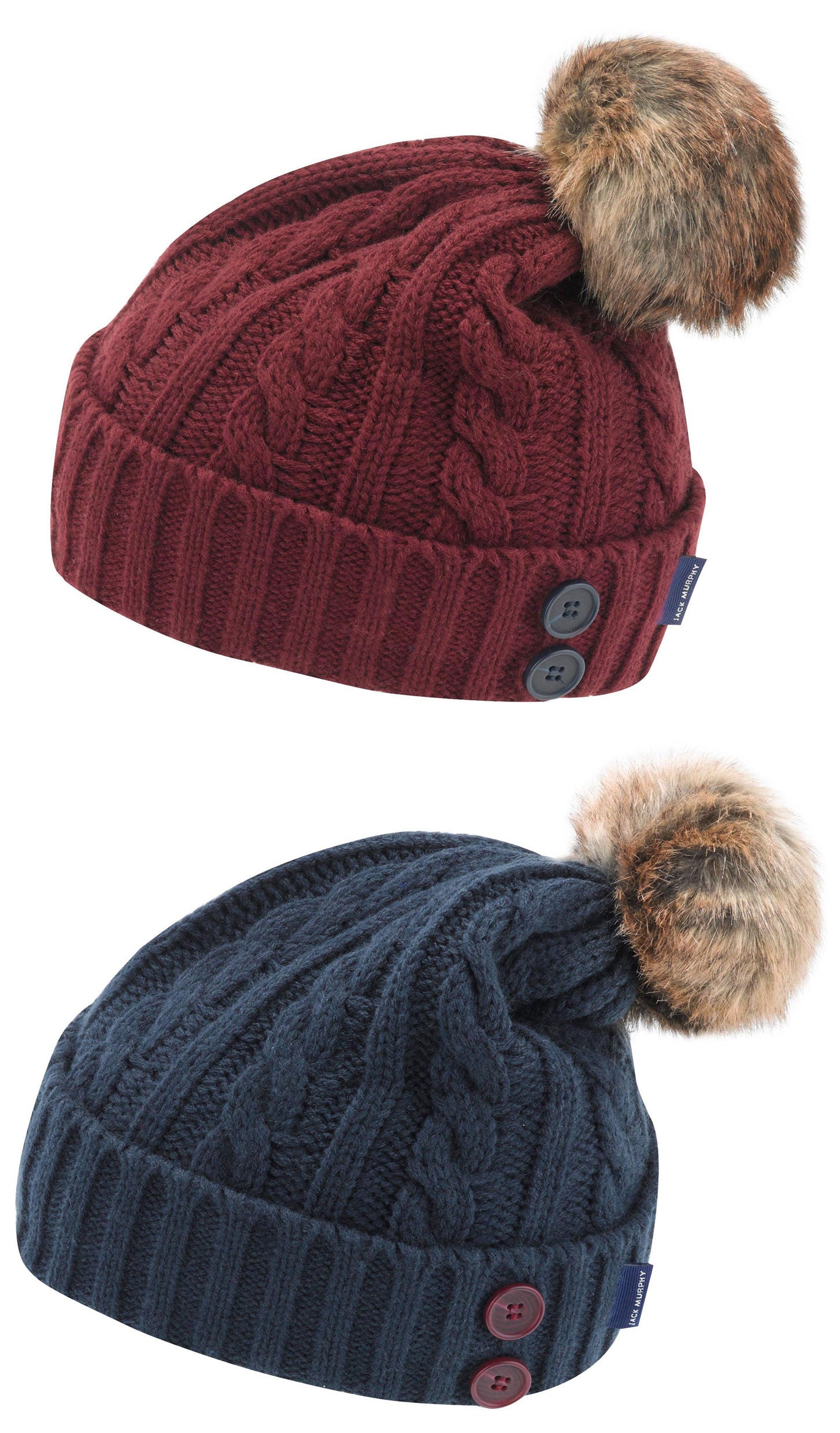 Jack Murphy Blessington Bobble Hat cable knit cap with a fur pom pom 9dbdcef8c35