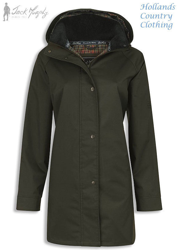 in olive Jack Murphy Ladies Oxford Waterproof Coat