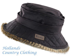 Ladies Ruffous Wax Cotton with Faux Fur Trim Hat