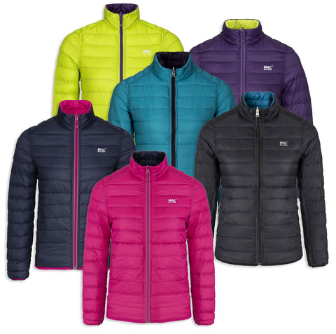 Mac-in-Sac Women's Packable Polar Down Jacket. Black teal fuchsia Grape lime