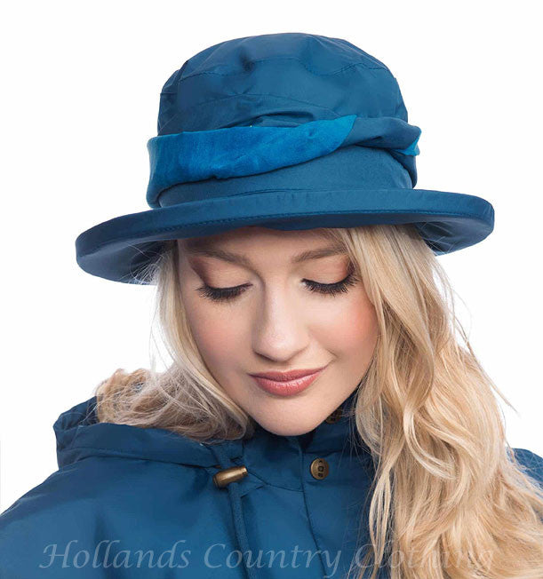 ladies blue Canterbury Waterproof  Brimmed Hat by Lighthouse