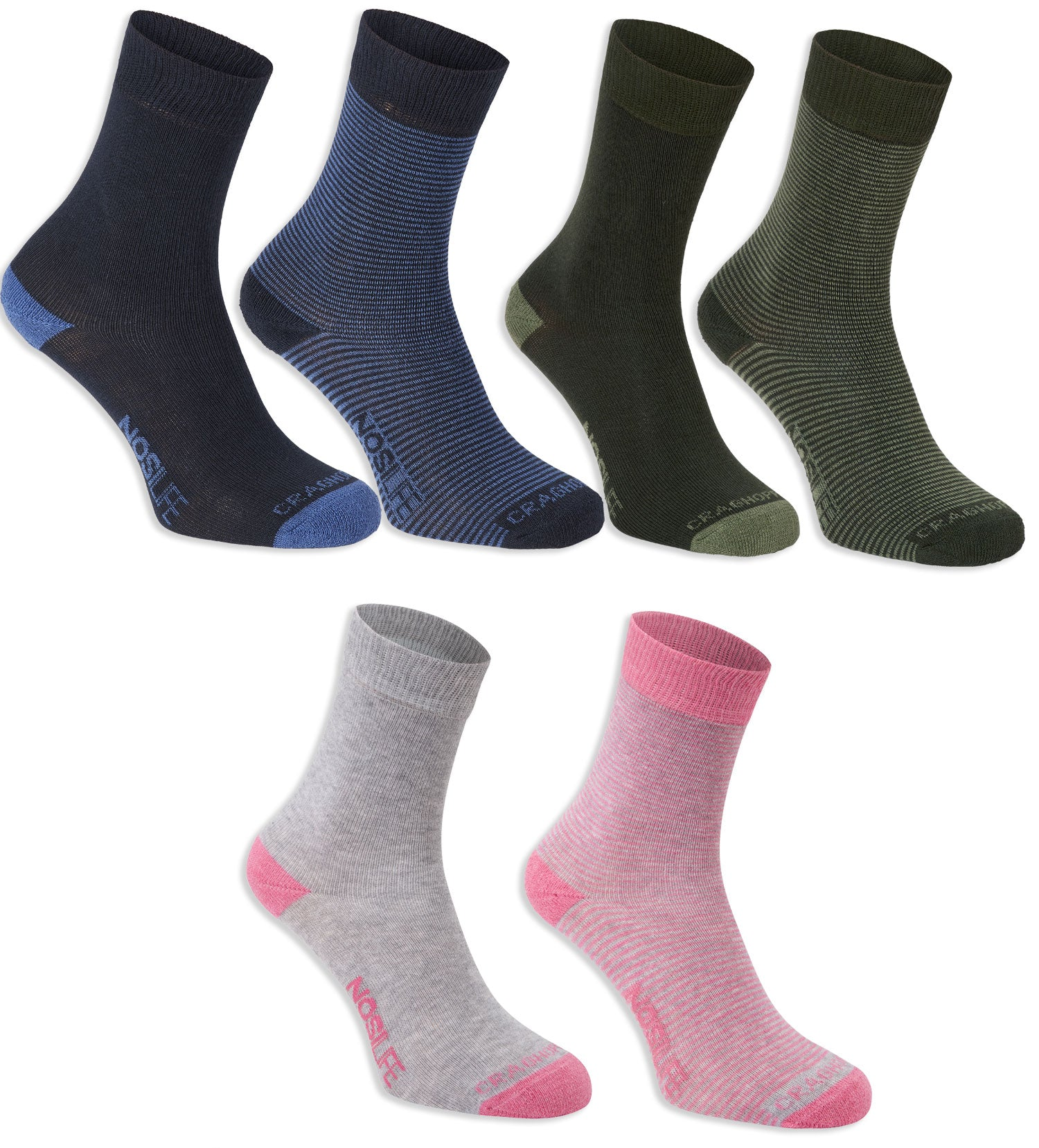 Craghoppers Women's NosiLife Sock in Pink, Navy and Green