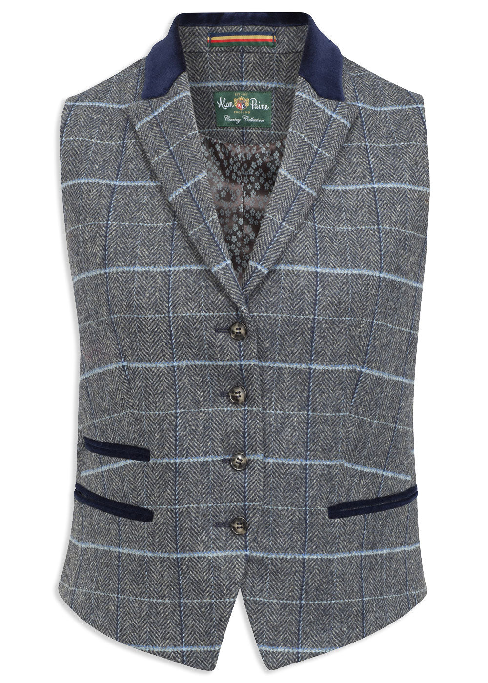 Alan Paine Surrey Ladies Lapel Waistcoat | Lake Blue