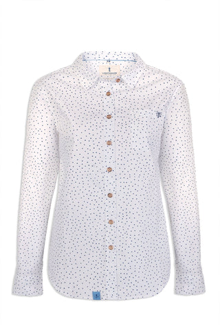 Lighthouse Ocean Shirt | Oxford polka Dot white with black spots