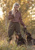 practical ladies country shirt worn by a woman walking her dogs